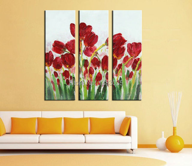 Hand Painted Modern Abstract Wall Picture Of Tulips Flowers Oil ...