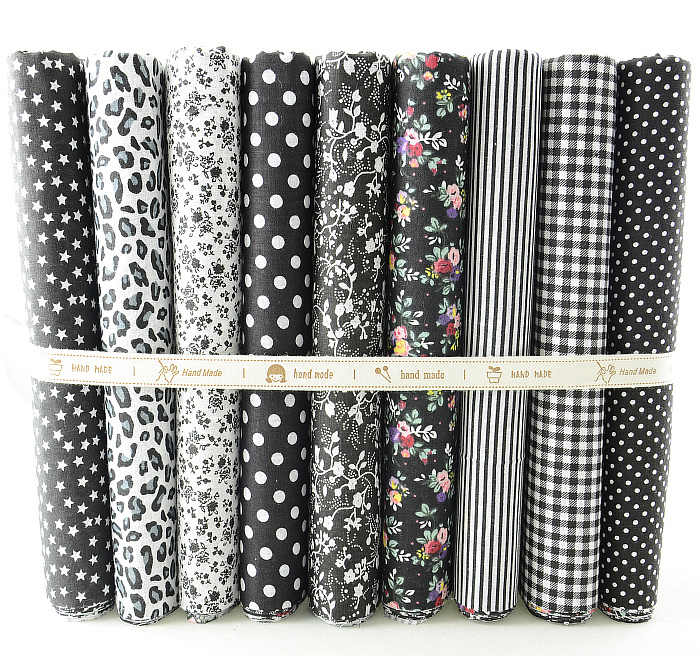 "50cmx50cm 9 Designs ""Black Set"" Fat Quarters Bundle Cotton Fabric  for Sewing Tolda Scrapbooking Quilting Patchwork Doll W3B5-6"