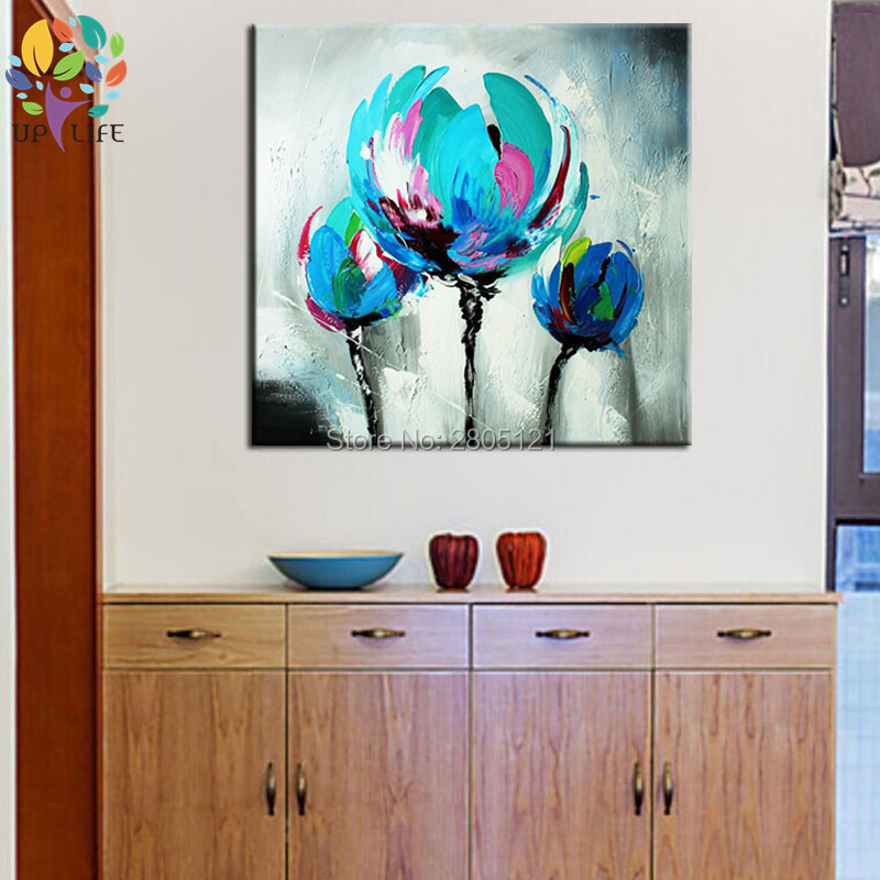 100% Hand made promotion bloom blue Flowers canvas painting Abstract - Home Decor - Photo 3