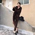 Venta caliente Crop Top Y Falda Set 2017 Nueva Primavera Mujer Terciopelo de la manera Correas V-cuello de la Túnica + Cintura Elástica Pantalones 2 Sets