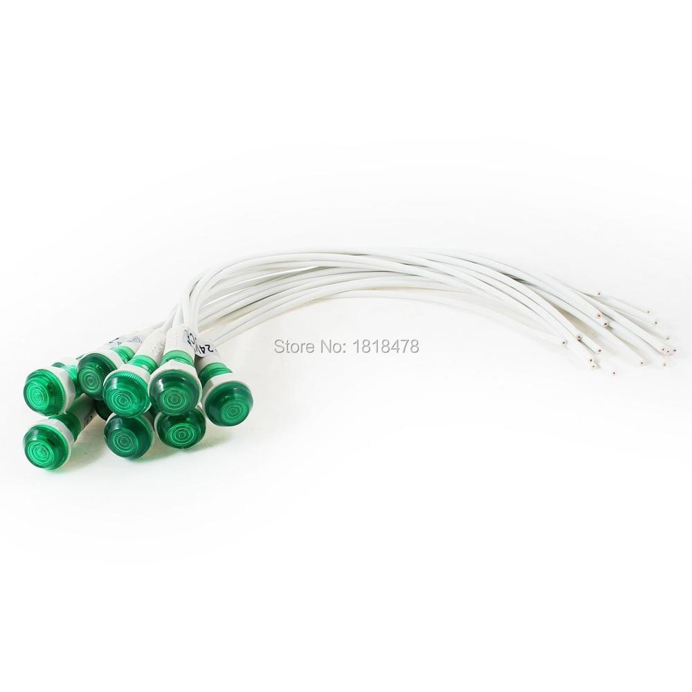10 Pcs 10mm Hole 2 Wire Cable Green Indicator Pilot Light Lamp DC 24V ...