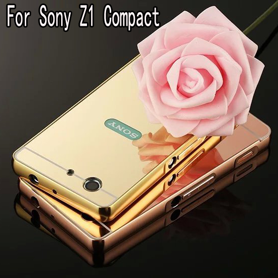 Luxury Hybrid case for Sony Xperia Z1 Compact Z1 Mini D5503 Hard Metal Aluminum with Mirror Protector cover for Sony Z1 Compact