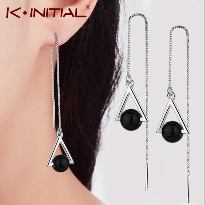 Kinitial Trendy Long Chain Tassel Earrings For Women Black Stone Hollow Geometric Triangle Hanging Earrings Bohemian Jewlry