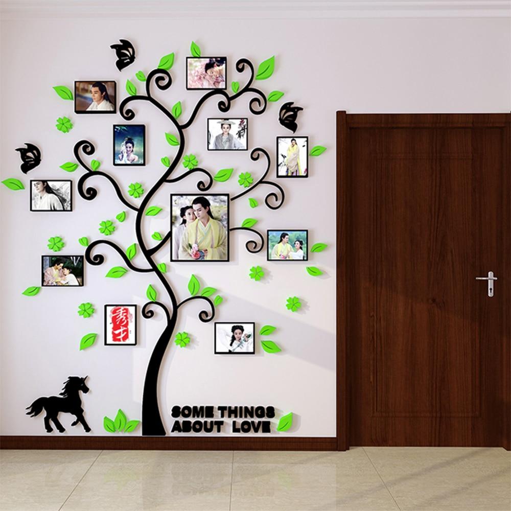 3D Acryl Familie Baum Wandaufkleber mit Bilderrahmen Wohnzimmer grün ...