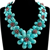Handmade Stone Flower Crystal Faceted Sparking Floral Statement Choker Necklace For Women