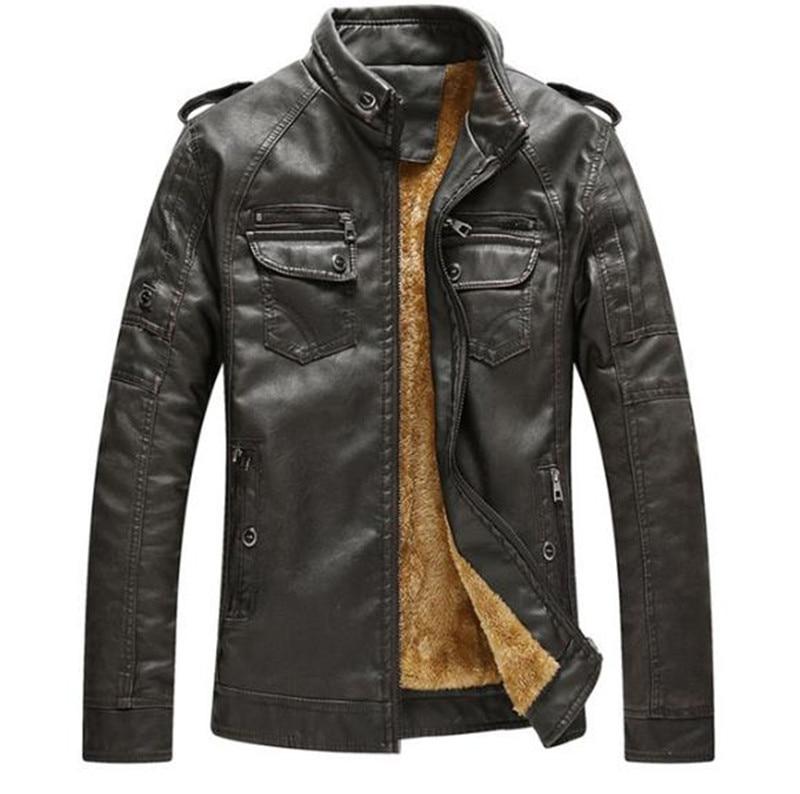 Хит, высокое качество, модная мужская повседневная кожаная куртка плюс бархатная куртка, мужское теплое пальто, пальто - Цвет: Dark brown