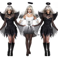 Halloween Women Dark Angel COSPLAY Costumes Female Ghost Bride Demons Carnival Stage Performance Garment Scary Evening Gowns