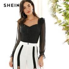 SHEIN de encaje negro de malla de manga de campana de cariño blusa Top  damas Primavera de 2019 Slim Fit Mujer Tops y blusas fa58b49dadf