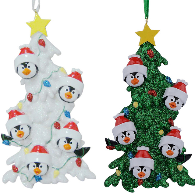 Resin Christmas Ornaments.Us 12 59 Aliexpress Com Buy Resin Penguin Family Of 5 Christmas Ornaments With White Tree As Personalized Gifts Holiday Home Decor Hand Painted