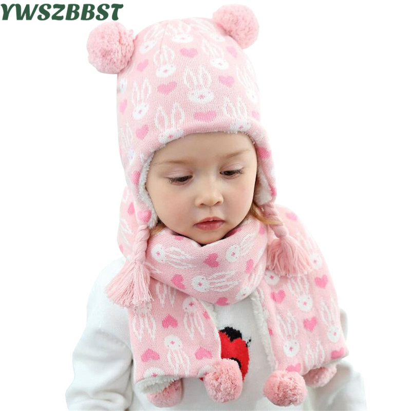 b0385553b0f8a Detail Feedback Questions about Fashion Baby Girl Hat with Love Heart Rabbit  Print Autumn Winter Warm Kids Hat Children Hat Cap Scarf Collars for Girls  and ...