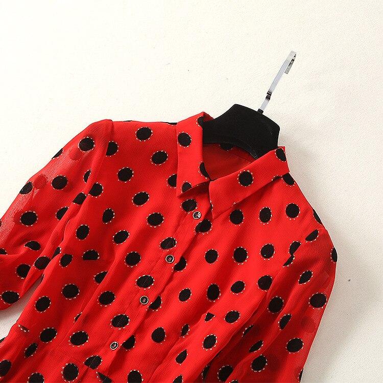 Americano Manica 2019 Vestito Dot Europeo Stile Irregolare Di E Delle Tre Della Modo Nuovo Stampato Bavero quarti Rosso Molla Donne qUZRw5Y