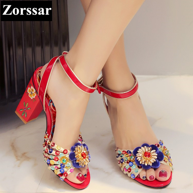 Summer shoes woman sandals high heel shoes BIG SIZE 2017 New arrival Fashion Print Ethnic style peep toe ankle strap shoes pumps fashion women ankle strap shoes pumps shoes womens rhinestone high heel sandals red blue 2017 new arrival woman summer shoes