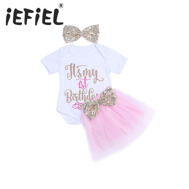 44152c592f2 3PCS Newborn Infant Baby Girls My 1st Birthday Outfits Romper with Tutu  Skirt and Headband Chirstmas Bow Holiday Outfit Suit