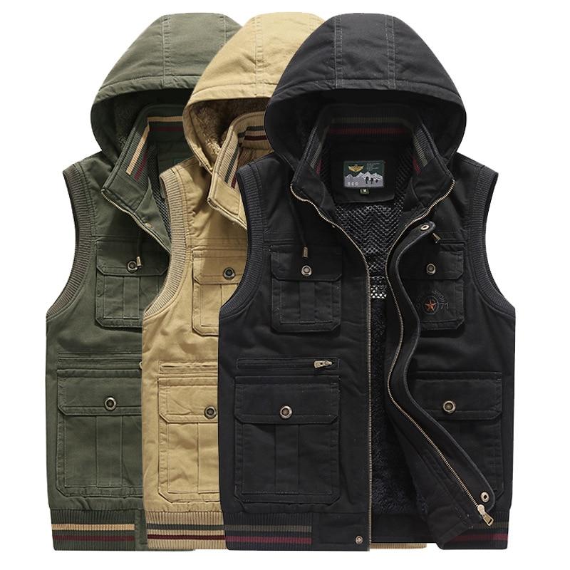de209138fde Brand Vest Men Winter Fleece Thick Warm Waistcoat Men Hooded Multi Pockets  Military Chalecos Para Hombre Colete Masculino M 4XL-in Vests   Waistcoats  from ...