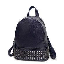 100% натуральная кожа женщин рюкзаки женские модная новинка для отдыха рюкзак из натуральной кожи матч заклепки простой водонепроницаемый рюкзак