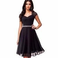 קיץ סקסי V צוואר נשים אלגנטית שרוול קצר שמלת שיפון שחור בציר מזדמן רשת נדנדה ליין שמלת Vestidos EA045