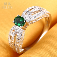 HELON Solid 18K 750 White Gold Certified Ova 6x4mm Green Garnet Ladies Wedding Ring SI/H Natural Diamonds Elegant Vintage Ring