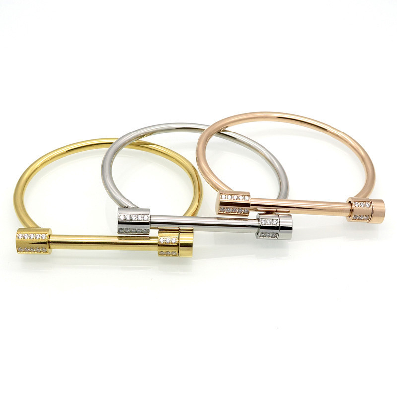 Tyme Stainless Steel Bracelets & Bangles Women Cuff Crystal Carter love H Bracelets Gold Color Women Party men Jewelry