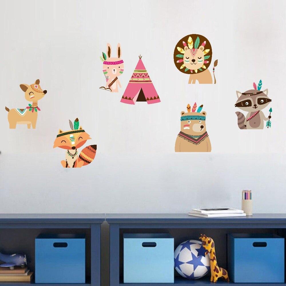Лесной Животные лисы медведь стены Стикеры Симпатичные лесных животных стрелка перо шаблон наклейки Детская стены Книги по искусству Вини...