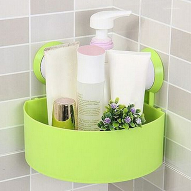 Kitchen Bathroom Organizer Corner Mounted Storage Shelf Strong Vacuum Suction Cup Triangle Rack Indoor Home Household