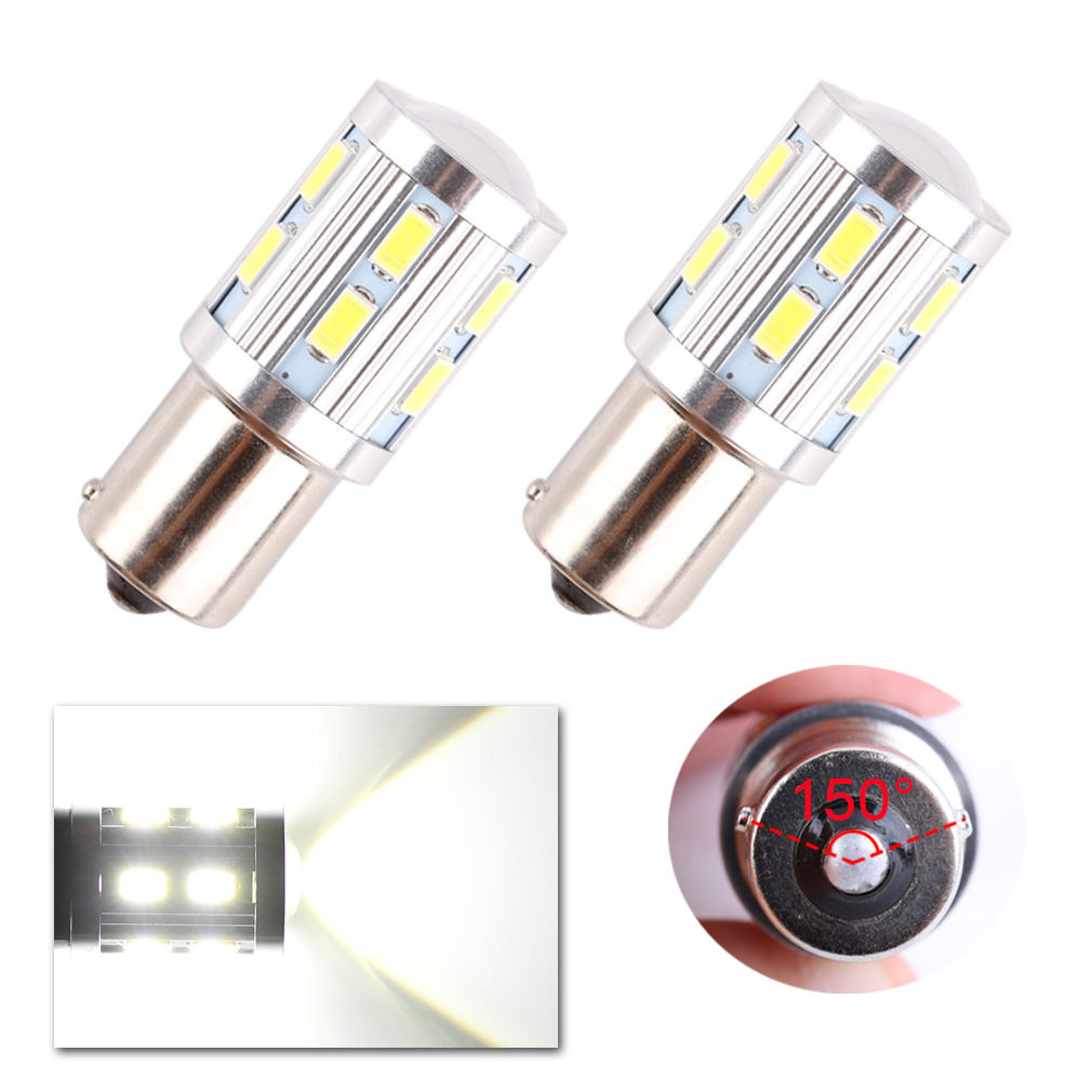 2pcs 1156 BAU15S Car LED bulbs Cree led Chips 12 SMD Samsung 5730 High Power lamp py21w rear Lights Source parking 12V D45