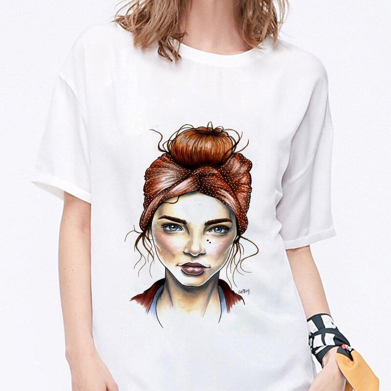 Summer 19 T shirt Women Harajuku Print Vintage Female Casual Fashion Tshirt O-neck Short Sleeve T-shirt White Tops Clothing 9