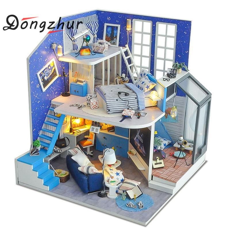 Diy 3d House Assemble Set Handmade Mini Doll House Creative Birthday Gift For Kids Miniature Dollhouse Furniture Toy House