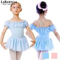الأطفال الفتيات الشيفون متجنب يوتار الباليه الرقص اللباس أطفال الأزرق القطن CT2009