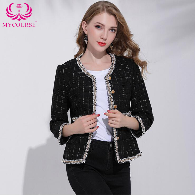 MYCOURSE Elegant Vintage Women's Appliques Long Sleeve Plaid Jacket Short Slim Coat Autumn Warm Tweed Jacket Party Overcoat