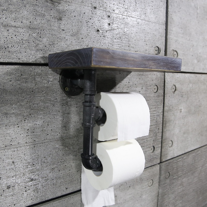 urban industrial style cast iron pipe toilet paper holder roller with natural wood shelf for. Black Bedroom Furniture Sets. Home Design Ideas