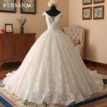 VENSANAC Sequined V Neck Lace Appliques Ball Gown Wedding Dresses 2018 Short Cap Sleeve Court Train Backless Bridal Gowns