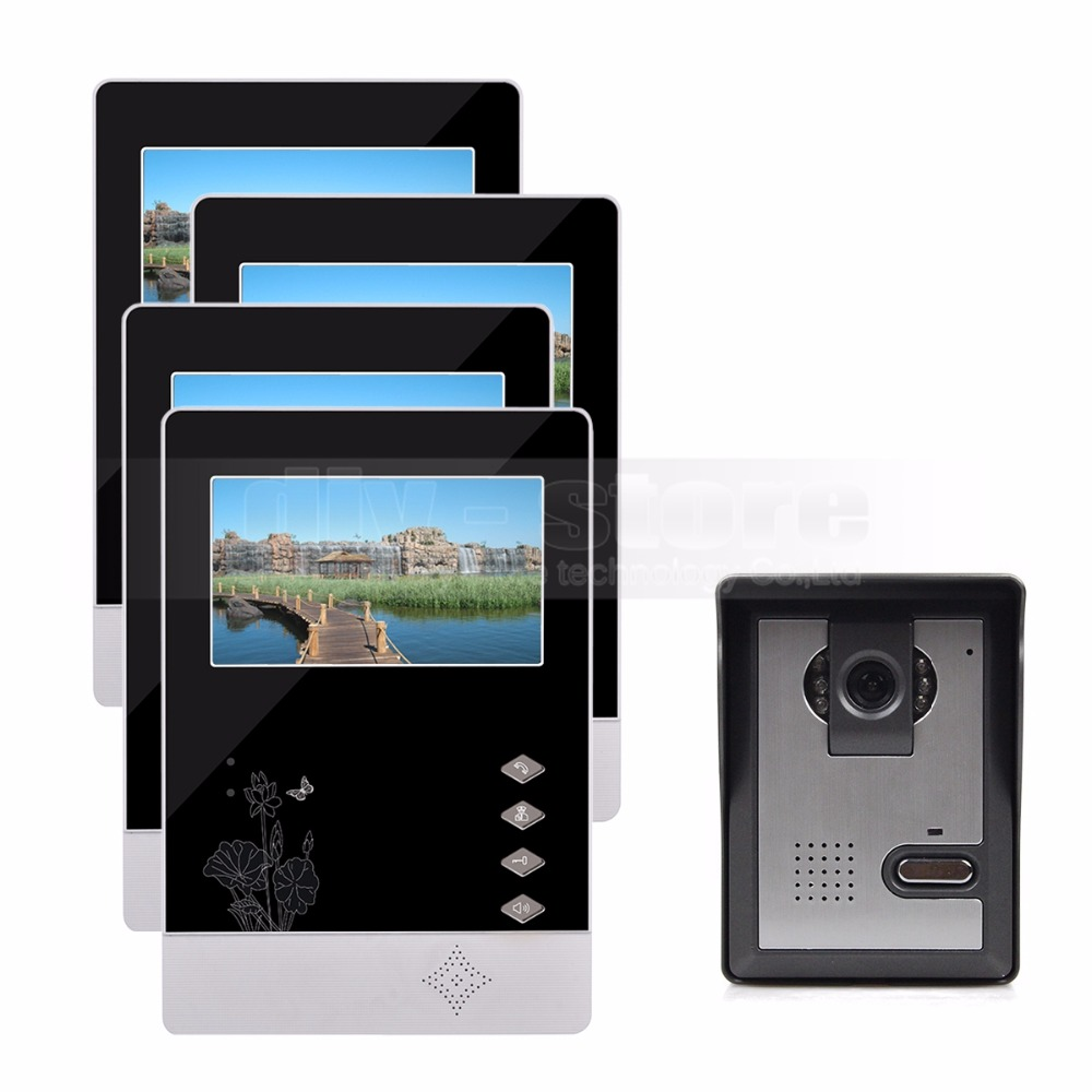 DIYSECUR 4.3 inch Indoor Monitor + 600 TVLine HD Camera IR Night Vision Video Door Phone Video Intercom 1V4