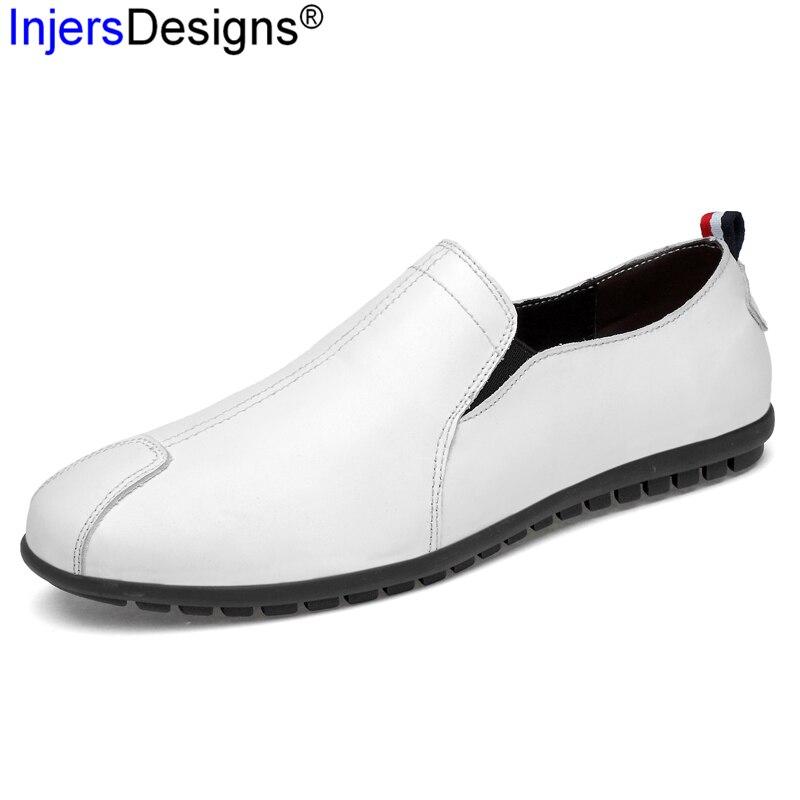Luz Moda Respirável Branco on Macio 47 Sapatos 36 Homens Size Black Condução Barco white Flats Plus Preto De Casuais Slip amp; Mocassins Couro ORqO7zrc