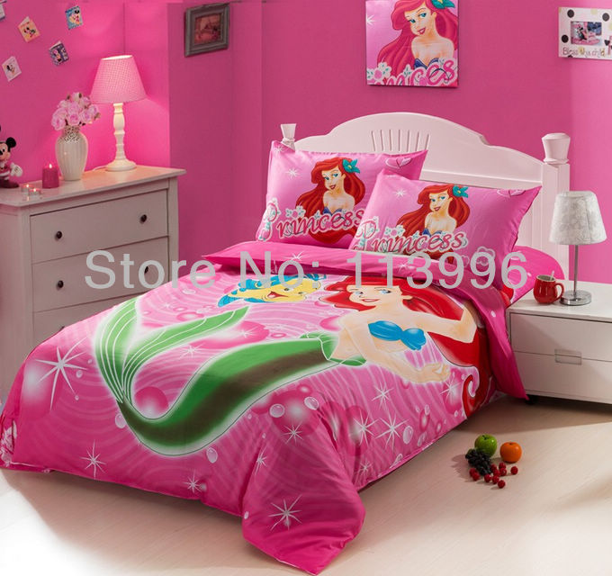 kids girls cartoon pink mermaid cotton bedding set single bed twin size children quilt cover. Black Bedroom Furniture Sets. Home Design Ideas