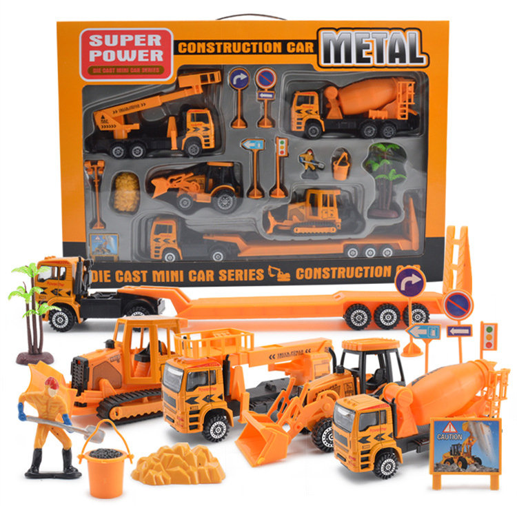 [Funny] Alloy Engineering Vehicles Model Toy metal excavator Sliding Vehicle construction cars model + engineer figure kids toy