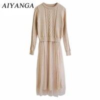2017 Autumn Fashion High Temperament Winter Dress O Neck Slim Long Sleeve Long Knitting Patchwork Mesh