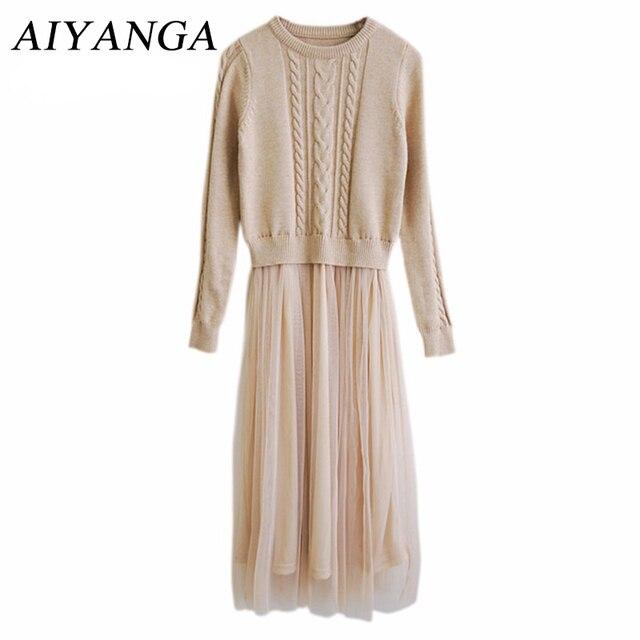 Осень 2017 г. мода высокого темперамент зимнее платье для Для женщин o-образным вырезом тонкий длинный рукав длинный Вязание лоскутное сетки Дамы Платья для женщин