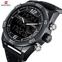 NAVIFORCE Quartz Horloge Dual Display Sport Horloges Outdoor Digital Horloge Kalender Lederen Waterdicht Relogio Masculino Klok-in Quartz Horloges van Horloges op