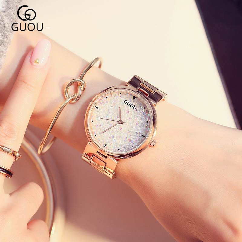 GUOU Brand Fashion Relojes mujer Rose gold Wristwatch Bracelet Quartz Watch Luxury Women Watches Clock Female Dress Montre Femme relojes mujer quartz wristwatch 2016 new fashion brand watches men metal mesh stainless steel watch women unisex casual clock