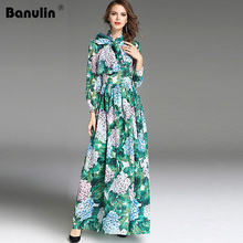 High Quality 2018 New Runway Fashion Designer Maxi Dress Womens Long Sleeve Green Leaves Floral Print Loose Casual Dresses