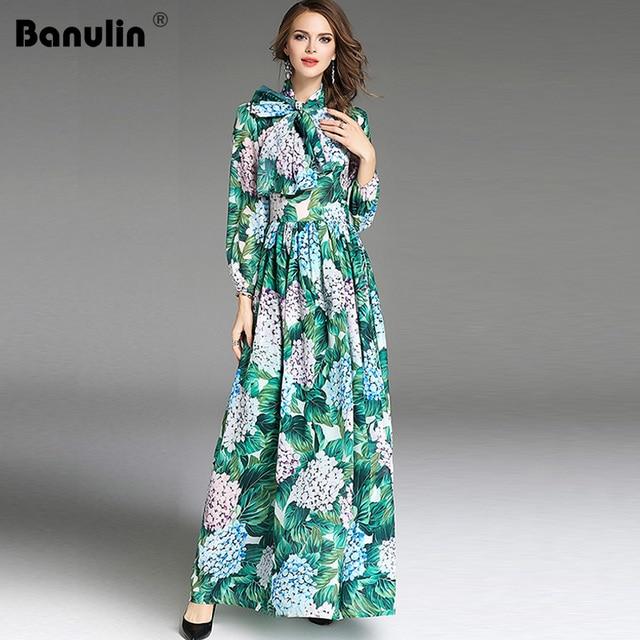 0d33c60209 High Quality 2018 New Runway Fashion Designer Maxi Dress Women s Long Sleeve  Green Leaves Floral Print