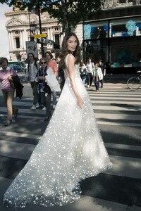Image 2 - LORIE 2019 Unique Wedding Dress A Line Star Applique Crystals Dresses V Neck Full Sequins Elegant Sleeveless vestidos de noiva