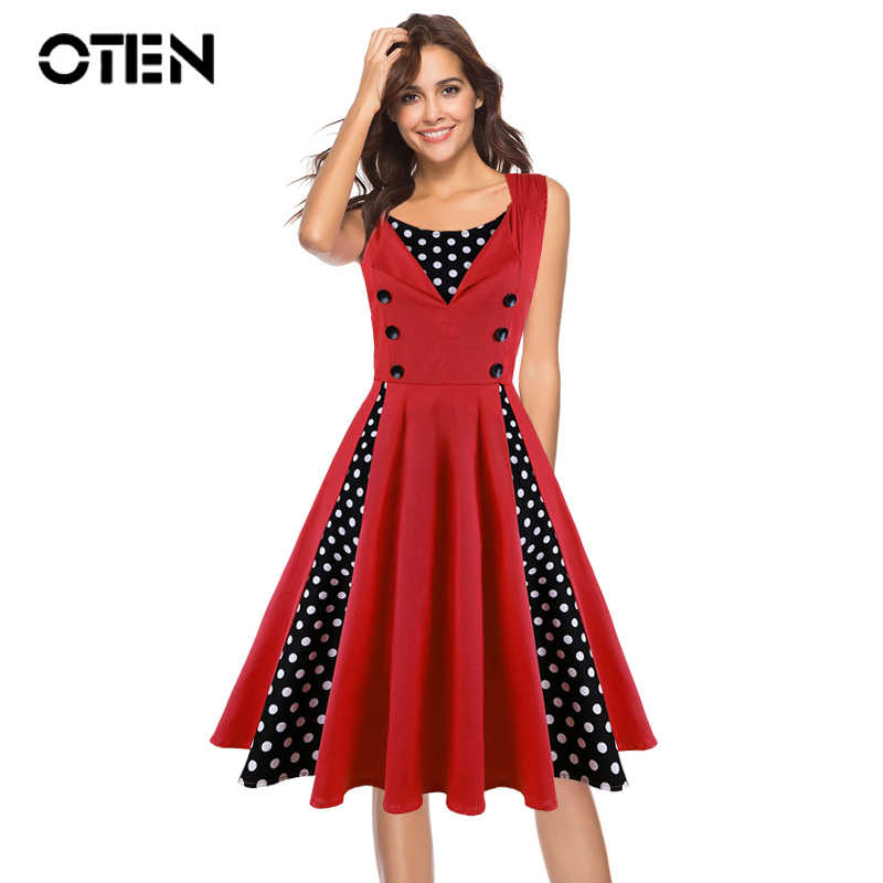 c501498565b OTEN Summer dress elegant Vintage Ball Gown Floral polka dot print 50s  rockabilly pin up Party