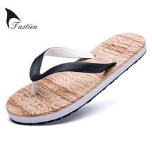 TASTIEN Brand Men Flip Flops Slippers Summer Beach Sandals Male Casual Shoes For Mens Flat Man Shoe High Quality  Wood Grain