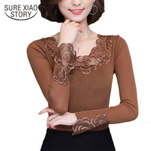 Casual Style 2017 New autumn long Sleeved women Blouse high quality slim hollow out lace women blusas clothing shirt top 500A 30