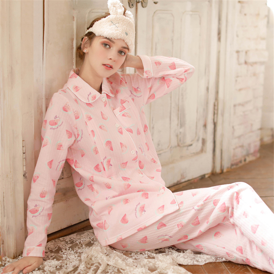 цена на Maternity Breastfeeding Clothes Pink Cotton Sleepwear Nursing Pajamas Set Winter Long Sleeve Clothes For Pregnant Women 70M0206