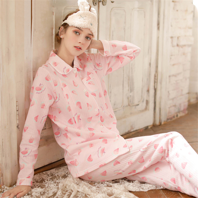 81b755f16f Maternity Breastfeeding Clothes Pink Cotton Sleepwear Nursing Pajamas Set  Winter Long Sleeve Clothes For Pregnant Women 70M0206