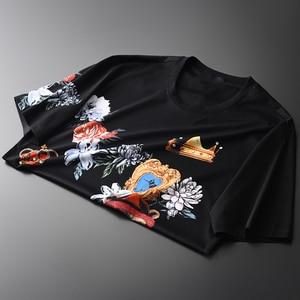 Image 2 - Minglu 100% Cotone Da Uomo T Shirt Diamante Di Lusso E di Stampa Degli Uomini Rotondi Del Collare T Shirt Più Il Formato 4xl Slim Fit T Shirt Uomo