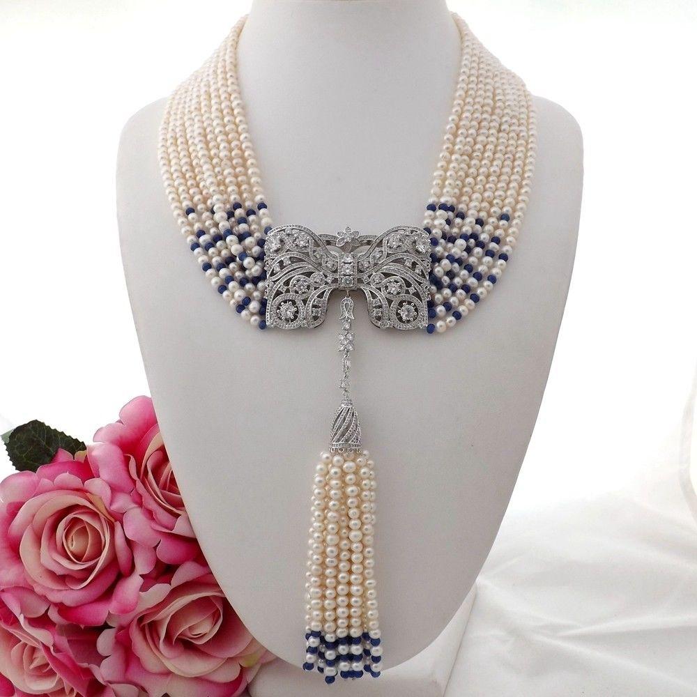GE090408 19 9Strands White Pearl Blue Stone Necklace CZ Pendant shiying a02304 fashion elegant artificial pearl acrylic pendant necklace black white blue