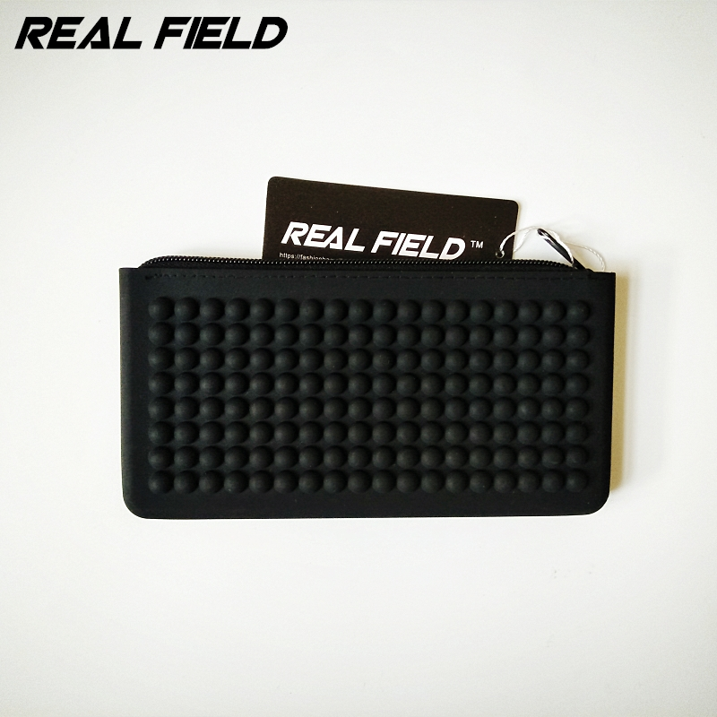 Real Field Summer Women Black Silicone Waterproof Cosmetic Bag Zipper Pen bags Makeup bag Brush Storage Passport Pouch 144 outdoor traveling nylon thicken zipper passport storage bag black